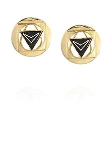 Gold plated bidri stud earrings by Malvika Vaswani