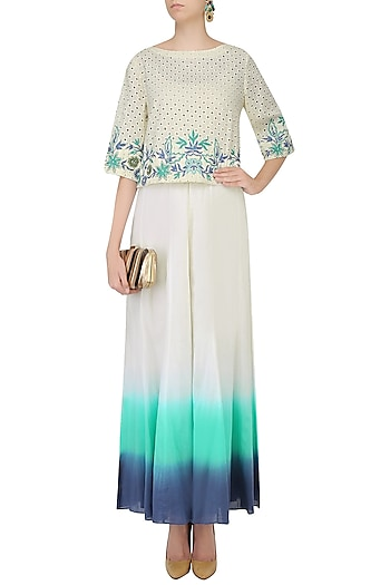 Ivory Floral Embroidered Top With Ombre Shaded Palazzo Pants by Mandira Wirk