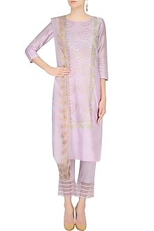 Lavender Gota Patti Work Straight Kurta With Pants by Mandira Wirk