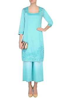 Blue Thread Embroidered Kurta With Palazzo Pants by Mandira Wirk