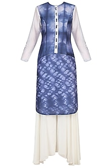 Blue And White Shibori Effect Kurta With Sharara Pants by Mandira Wirk