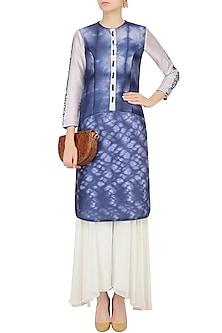 Blue And White Shibori Effect Kurta With Sharara Pants by Mandira Wirk