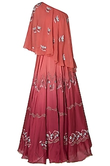 Wine Ombre Embroidered Lehenga Set