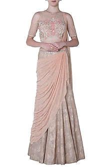 Peach Embroidered Drape Saree by Mandira Wirk