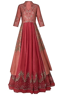 Rust Embroidred Jacket and Anarkali by Mandira Wirk