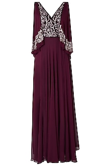 Plum Embroidered Drape Gown Dress