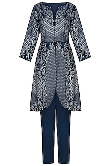 Navy Blue Embroidered Jacket with Pants by Mandira Wirk