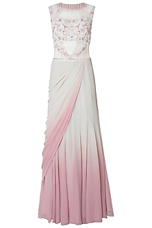 White and Pink Ombre Embroidered Drape Saree