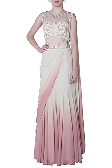 White and Pink Ombre Embroidered Drape Saree by Mandira Wirk