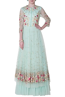 Sage Green Embroidered Gown by Mandira Wirk