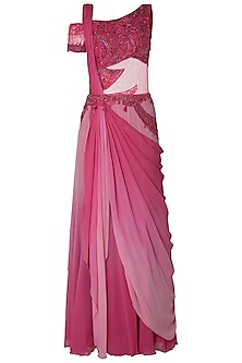 Pink Ombre Embroidered Drape Saree