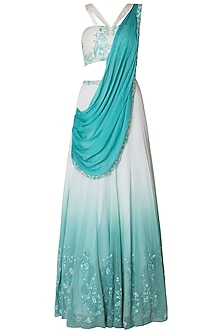 Teal 16 Kali Embroidered Lehenga Set