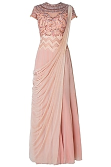 Peach Embroidered Georgette Drape Saree by Mandira Wirk