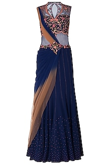 Navy Blue Ombre Embroidered Drape Saree