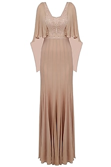 Dull Pink Mukaish Embroidered Drape Gown