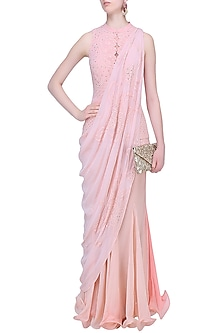 Light Pink Mukaish Embroidered Lehenga Set by Mandira Wirk
