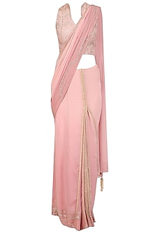 Onion Pink Mukaish Embroidered Saree with Blouse by Mandira Wirk