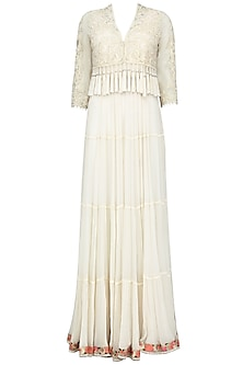 Ivory Nouveau Tassel Jacket with Multi Tiered Dress