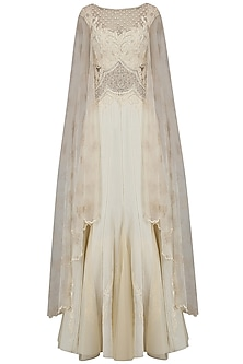 Ivory Beaded Nouveau Dress with Attached Back Net Cape