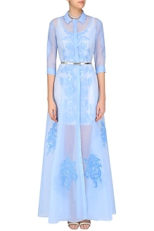 Ivory Nouveau Fitted Dress with Icy Blue Long Jacket by Mandira Wirk