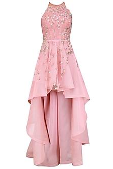 Pink Flora High Low Dress Gown