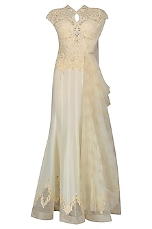 Ivory Nouveau Embroidered Draped Saree Gown