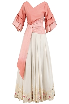 Dark Coral and Ivory Nouveau Pleated Skirt with Senorita Wrap Top by Mandira Wirk