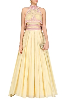 Pastel Yellow Geometric Flora Flared Top with Pleated Corset Dress by Mandira Wirk