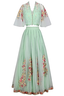 Aqua Green Flora Work Multi Net Drape Blouse with Pleated Long Skirt