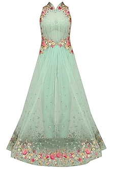 Aqua Green Flora Pleated Long Jacket with Trouser and Chantilly Bustier by Mandira Wirk