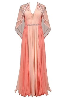 Coral Curled Roses Pleated Long Dress with Layered Flora Cape by Mandira Wirk