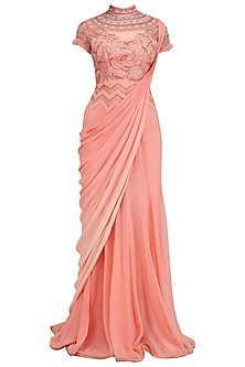 Coral Curled Roses Laser Cut Draped Saree by Mandira Wirk