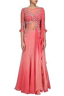 Dark Coral Flora Kali Draped Saree Gown by Mandira Wirk