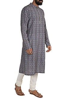 Wine & Blue Printed Embroidered Kurta Set by Mayank Modi
