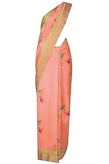 Pink Cute Cat Motifs Chanderi Saree