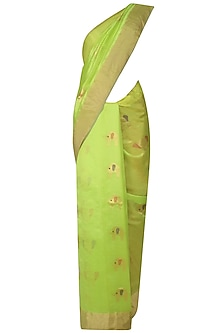 Lime Green Elephant Motifs Chanderi Saree