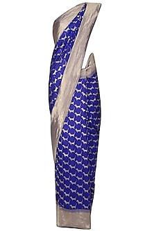 Royal Blue Cute Daschund Motifs Benarasi Saree by Madhurya