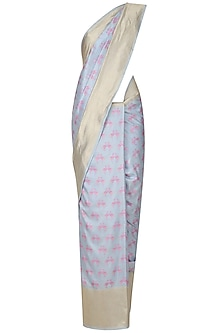 Powder Blue and Pink Flamingoes Benarasi Saree