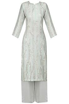 Light Blue Shama Design Kurta and Palazzo Pants Set