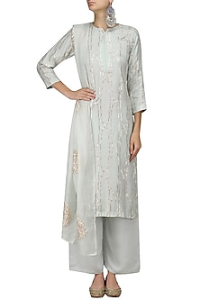 Light Blue Shama Design Kurta and Palazzo Pants Set by Myra by Anju Narain