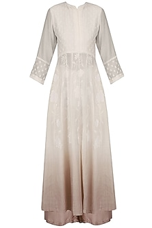 White Shaded Chikankari Kurta and Palazzo Pants Set