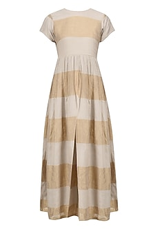 Grey and Beige Striped Dress by Myra by Anju Narain