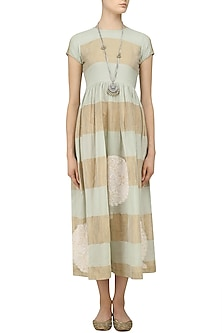 Mint Blue and Beige Chikankari Striped Dress by Myra by Anju Narain