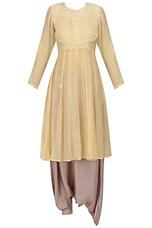 Yellow Chikankari Kurta and Pant Skirt Set by Myra by Anju Narain