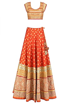 Orange and Gold Gota Patti Banarasi Brocade Lehenga Set
