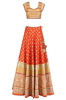 Orange and Gold Gota Patti Banarasi Brocade Lehenga Set by Mynah Designs By Reynu Tandon