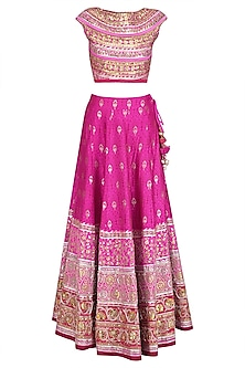 Pink and Gold Gota Patti Banarasi Brocade Lehenga Set
