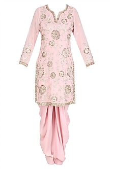 Light Pink Floral Sequins Embroidered Kurta and Dhoti Pants Set