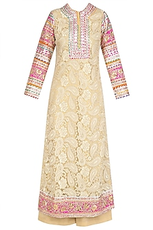 Gold Floral Gota Patti Lace Work Kurta and Pants Set
