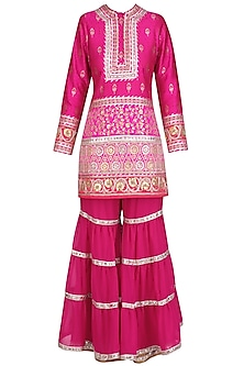 Fuschia Pink Gota Patti Banarasi Brocade Kurta and Garara Pants Set